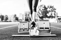 Closeup of a starting block. Royalty Free Stock Image