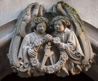 Closeup of statue angels in the ruins of Heidelberg Castle, Baden-Wurttemberg, Germany Royalty Free Stock Photography