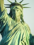Closeup Statue of Liberty Basking in Sunlight. Symbol of Freedom Stoic Figure NY Harbor Patina Color Stock Images