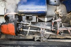 Closeup of the steam cylinder with valves of the famous Darjeeling toy train. Closeup of the steam cylinder with valves of the famous Darjeeling steam train in Stock Photo