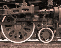 Closeup of Steam Driven Train Engine Stock Photo
