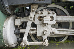 Closeup of steam train wheels Royalty Free Stock Images