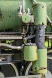 Closeup of steam train wheels. A closeup of an old steam locomotive wheels Royalty Free Stock Photo