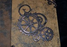 Closeup of steampunk-style notebook. Handmade by myself Royalty Free Stock Photography