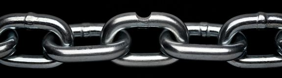 Closeup of steel chain links with weak link Royalty Free Stock Photo