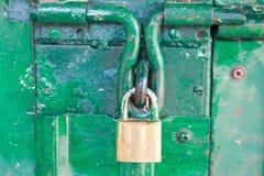 Closeup steel door  lock Royalty Free Stock Photos