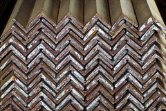 Closeup of Steel Galvanized Angles Bunched Together. Ready for Shipment royalty free stock photography