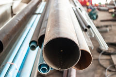 Closeup steel pipes Royalty Free Stock Image