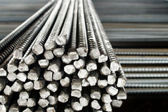 Closeup of Steel Rods or Bars, to Reinforce Concrete Royalty Free Stock Image
