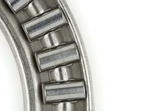 Needle roller thrust bearing closeup. Closeup of steel thrust bearing designed to handle mainly axial loads Royalty Free Stock Image