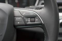 Closeup of steering wheel of modern car Stock Photo