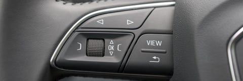 Closeup of steering wheel of modern car Royalty Free Stock Images