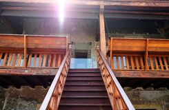 Closeup step outdoor wood staircase. With sunlight Royalty Free Stock Photography