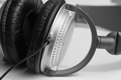 Closeup of a stereo headphone Royalty Free Stock Photo