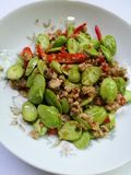 Stir fried twisted cluster bean with minced pork Royalty Free Stock Image