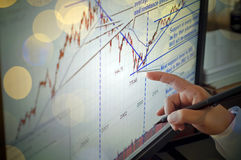 Closeup of a stock market graph on a computer screen, indexes an. Closeup of a stock market graph on a computer screen,businessman pointing to stock chart Royalty Free Stock Image