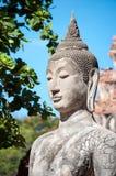 Closeup of a stone Buddha statue at Wat Mahathat temple, Ayutthaya, Thailand Stock Image