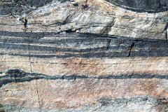 Closeup of a stone with different horizontal layers Royalty Free Stock Image