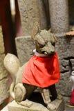 Closeup of a stone fox statue. Royalty Free Stock Photos