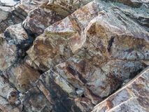 Closeup of a stone rock in the mountains royalty free stock photography