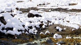 Closeup stone and snow in the mist Noboribetsu onsen Royalty Free Stock Image