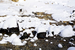 Closeup stone and snow in the mist Noboribetsu onsen Royalty Free Stock Photography