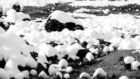 Closeup stone and snow monochrome in the mist Noboribetsu onsen Royalty Free Stock Photography