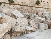 Detail of Second Temple Ruins in Jerusalem stock photos