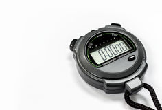 Closeup stopwatch. On white background. over light and soft-focus Royalty Free Stock Photos