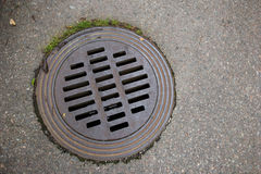 Closeup of a stormwater drain lid Royalty Free Stock Image