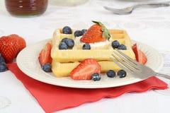 Closeup Strawberry blueberry waffles Stock Photos