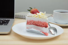 Closeup strawberry cake dessert. On wooden table Stock Photo