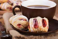 Strawberry Pastries and Coffee Closeup Royalty Free Stock Photography