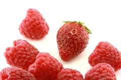 Closeup of strawberry and raspberries Royalty Free Stock Photo