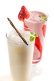 Closeup of strawberry and vanilla smoothies stock photography