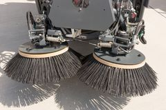 Closeup street sweeper machine. Cleaning the streets Stock Images