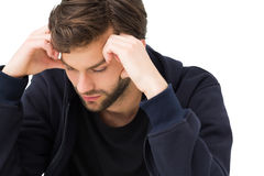 Closeup of a stressed handsome young man Royalty Free Stock Photo
