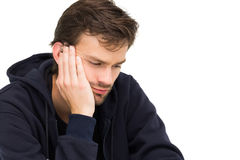 Closeup of a stressed handsome young man Royalty Free Stock Image