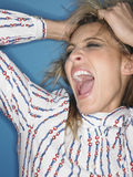 Closeup Of Stressed Young Woman Shouting Stock Photo