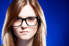 Closeup strict young woman with nerd glasses Stock Photo