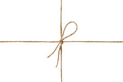 Closeup string or twine tied in a bow isolated on white Royalty Free Stock Image