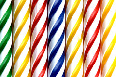 Closeup of striped candles Royalty Free Stock Photo