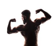 Closeup of strong athletic man on white background Stock Photography