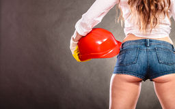 Closeup of structural engineer holding helmet. Royalty Free Stock Photography