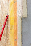 Closeup of  structural Insulated Panels with mineral rockwool  insulation and Drywall. Stock Image