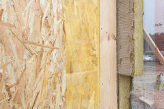 Closeup of  structural Insulated Panels with mineral rockwool  insulation and Drywall. Stock Images