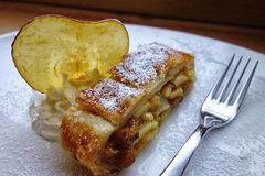 Closeup strudel slice Stock Photography