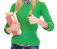 Closeup on student girl showing thumbs up Royalty Free Stock Images