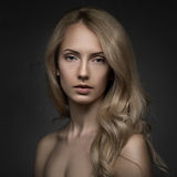 Closeup studio portrait of beauty blond woman Stock Photo