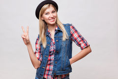 Closeup studio portrait of hipster young woman Stock Photography